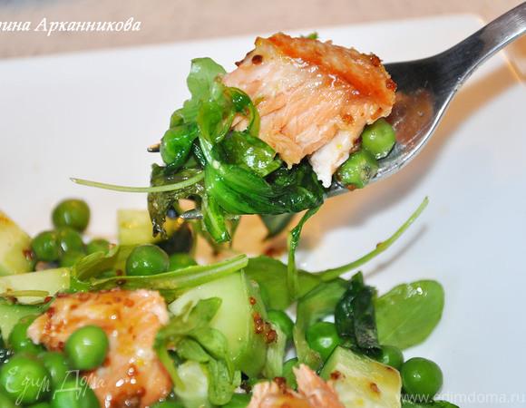 Семга с овощами и салатом под горчично-медовой заправкой