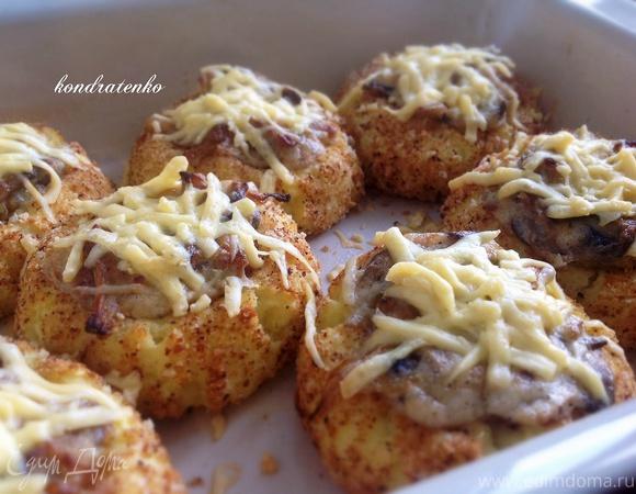 Картофельные гнезда с курицей и грибами