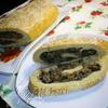 Картофельный рулет с шампиньонами и квашеной капустой