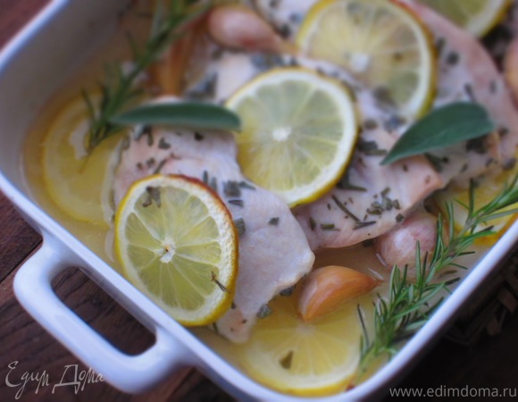 Куриная грудка с чесноком и лимоном