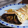 Блинчики на гречневой муке с куриной печенью и карамелизированным луком