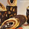 Блины с молочной начинкой в шоколадных кольцах