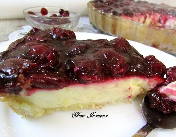 Творожный пирог с вишневым киселем