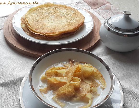 Молочный суп с лапшой из крахмальных блинов