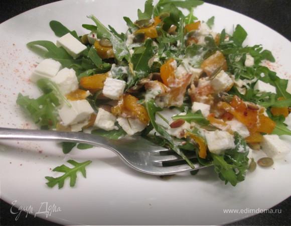 Пряный салат из запеченной тыквы с фетой