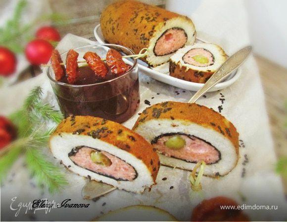 Рыбный рулет с оливками
