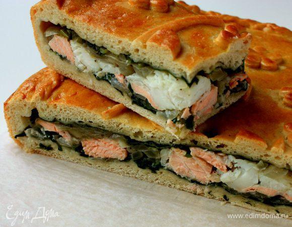 Рыбный пирог с черемшой