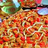 Тонкая пицца с курицей карри