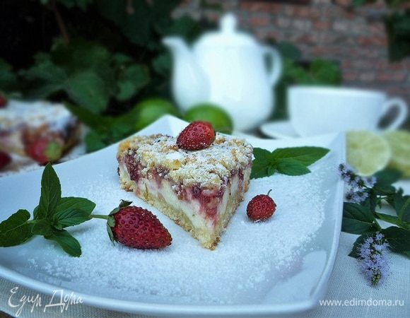Творожно-клубничный пирог с лаймом