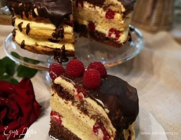 Мраморный пирог с малиной