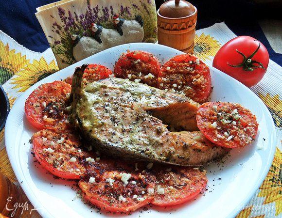 Лосось в сливках и помидоры-гриль