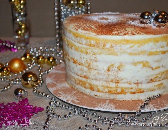 Торт «Сливочные снежинки»