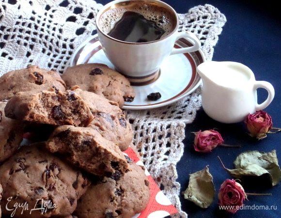 Печенье шоколадное с цукатами и изюмом
