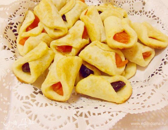 Творожное печенье с курагой и черносливом