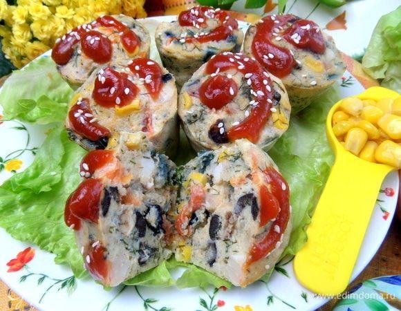 Порционные омлеты с фасолью