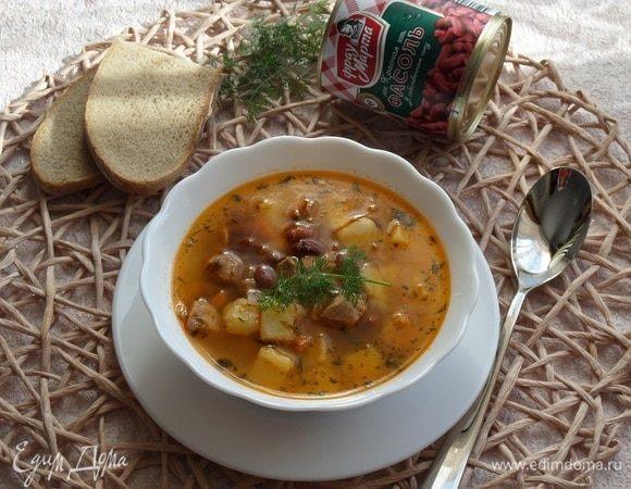 Суп с красной фасолью, курицей и овощами