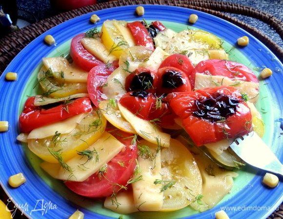Теплый салат с сыром