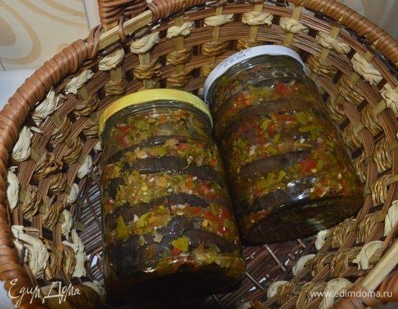 Маринованные баклажаны с болгарским перцем