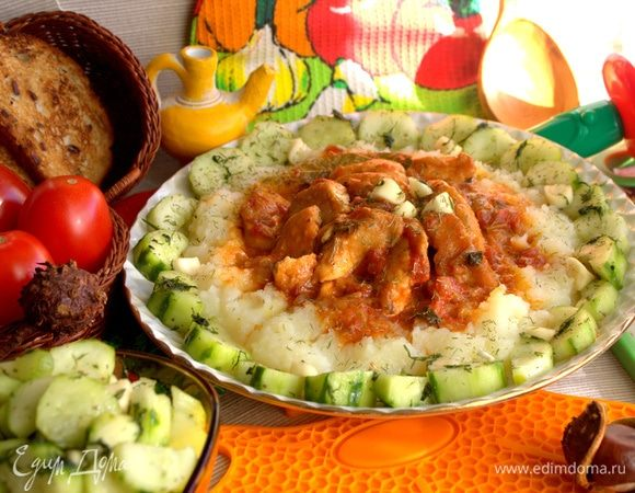 Курица с томатами в мультиварке