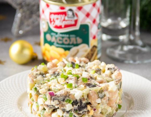 Салат с индейкой, грибами и фасолью