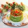 Торт-салат с куриной грудкой и грибами