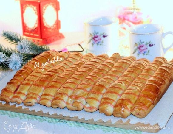 Полосатые булочки с малиновым кремом