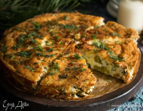 Сырный пирог с горошком
