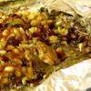 Камбала, запеченная с кедровыми орешками и изюмом