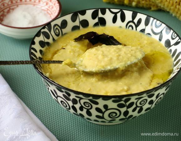 Суп из молодой кукурузы с брынзой