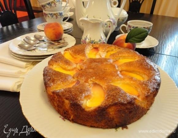 Пирог на оливковом масле с персиками