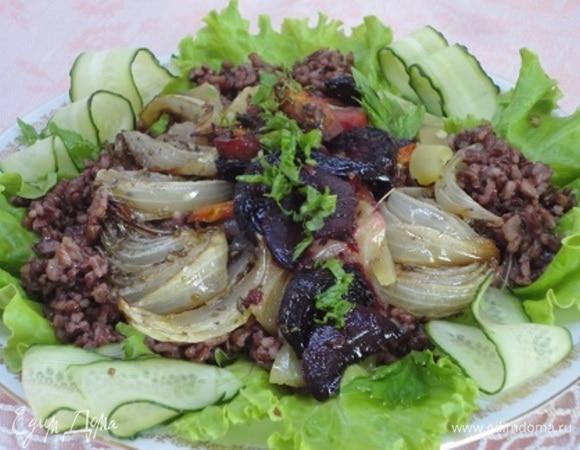 Печеные овощи с красным рисом