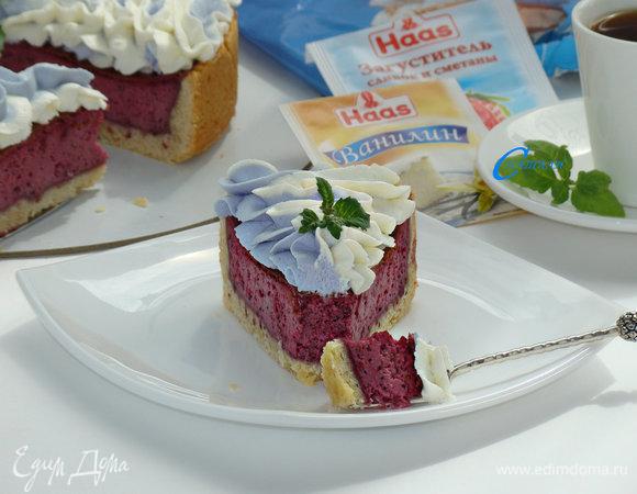Тарт со сметанно-смородиновой заливкой и взбитыми сливками