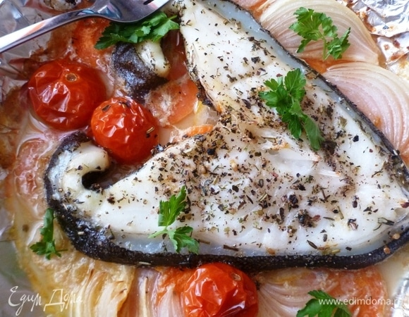 Зубатка с овощами в духовке
