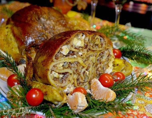 Курица, фаршированная блинами с начинкой