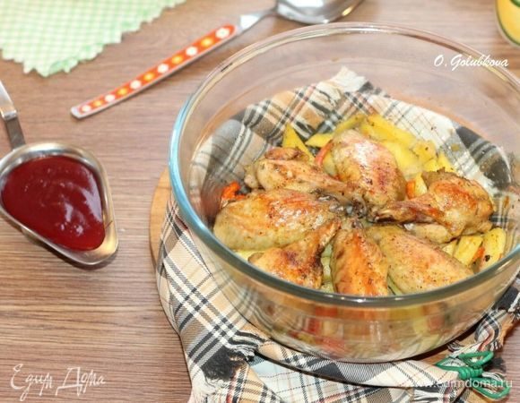 Курица с овощами и вишневым соусом