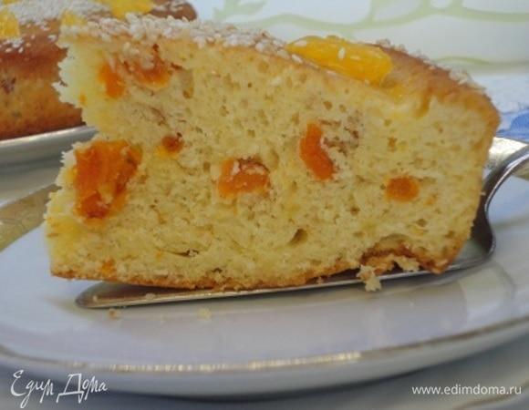 Апельсиновый кекс с курагой и кунжутом