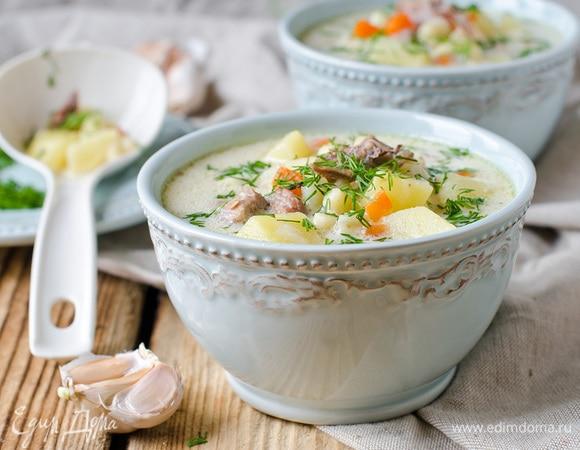 Быстрый мастер-класс: сырный суп с курицей и шампиньонами