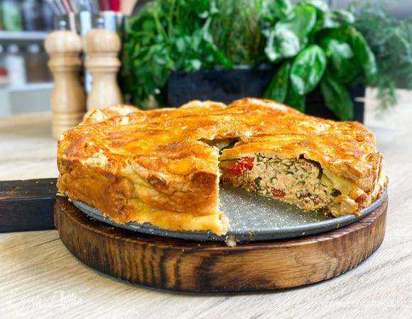 Олег жарит! Пирог с творожно-сырной начинкой и овощами