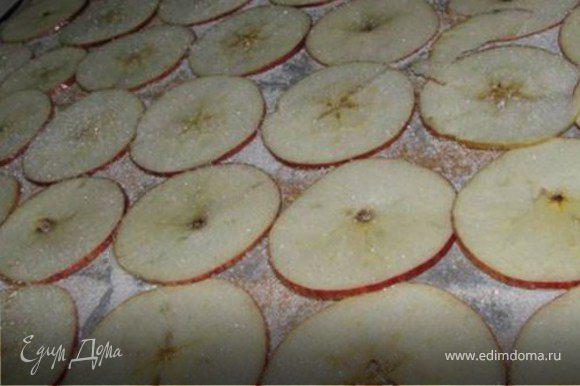 пергаментный лист посыпать сахаром и корицей.Выложить яблоки и сверху посыпать сахаром. Выпекать 2 часа при темп. 120 гр.