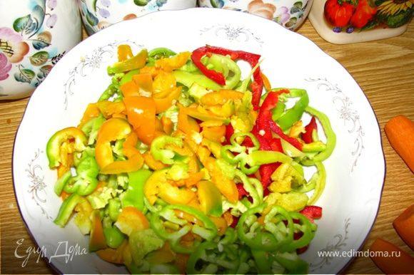 Режем кубиками или соломкой белый корень,болгарский перец, морковь, лук.