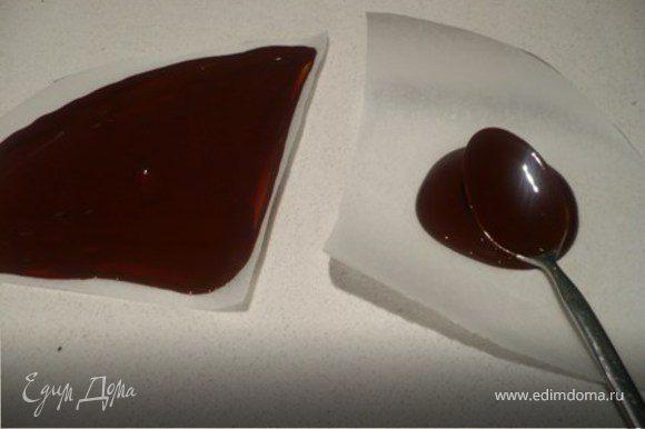 УКРАШЕНИЕ: Как вариант подойдут «волны». Раскрошить шоколад в миску, желательно керамическую, и растопить на водяной бане на маленьком огне. Дно миски не должно касаться воды. Из кальки вырезать круги диаметром торта. Сложить в четверо и порезать на четвертинки-сегменты. Дать шоколаду чуточку загустеть и обратной стороной чайной ложки или ножом смазать сегменты плотным слоем шоколадом.