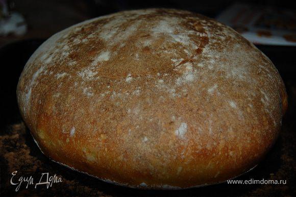 Девочки забыла сказать. Готовый хлеб обязательно остудите на решетке.Не режьте хлеб даже если он будет чуть теплый,т.к он будет на вид немного влажноватый.А вот ,когда он полностью остынет мякиш будет пористый и пружинистый.