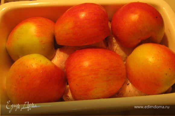 Порезать курицу на порционные кусочки, посолить, посыпать прованскими травами, добавить оливковое масло, перемешать. Яблоки разрезать на половинки, удалить сердцевину. Выложить курицу в форму, сверху выложить яблоки.