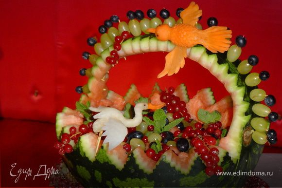 Корзину заполняем фруктовым салатом.
