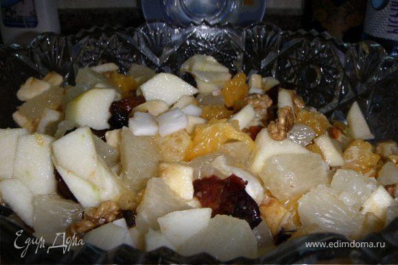 Порезать все фрукты на кусочки,из фиников вынуть косточку,чернослив распарить и порезать,добавить орехи и заправить сиропом. Сироп: растопить мед, добавить коньяк и сок лимона.все перемешать и дать немного настояться