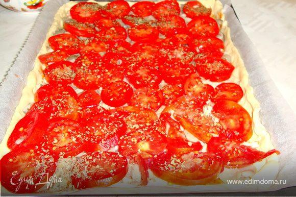 Тесто смазать кетчупом( у меня кетчуп домашнего приготовления). Затем выложить остывшее мясо и грибы, сверху помидоры и посыпать их сухим базиликом.