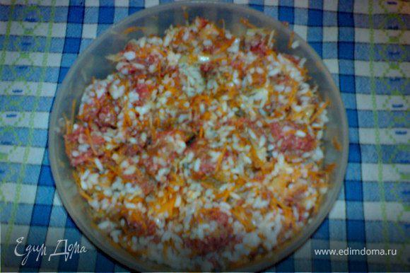 Рис отварить и остудить.В фарш добавить отварной рис и овощи натертые на терке: сырую морковь,лук и чеснок.Затем добавить специи всё перемешать и начинить перцы.