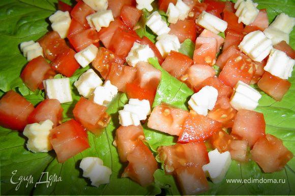 На тарелку кладем листья салата, а сверху, послойно, выкладываем все ингредиенты.