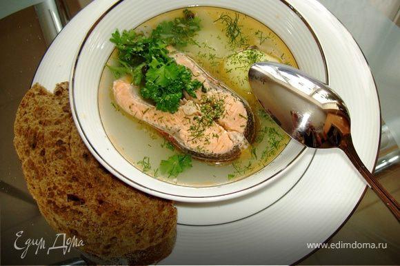 Не торопитесь приниматься за еду: калья должна настояться. К столу отдельно подайте несколько видов мелко порубленной зелени. Прямо в тарелку можно выжать немного лимонного сока (рекомендую, но сначала попробуйте без него).