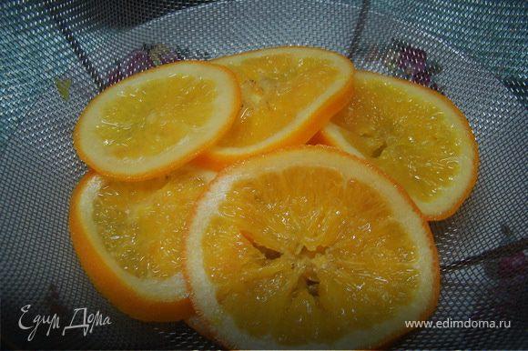 Затем, смешиваем воду с сахаром, ждем, пока полностью раствориться сахар и кладем туда наши апельсины. Варим где-то 1 час на маленьком огне, пока корка не станет прозрачной/полупрозрачной. Достаем и снова даем стечь.